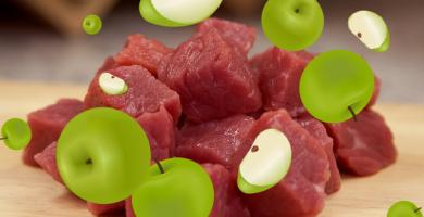 Receta de carne con manzana para perros